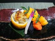 真鱈の白子と牡蠣の柚子味噌焼き 人参三種添え