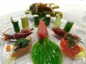 ■オードブル:桜鱒トビウオのマリネ、        ホタルイカ、アスパラガス等