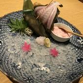 カワハギのお造り(肝醤油)