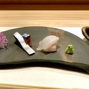 天然鮃のお造り 生鯖酢〆
